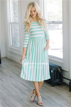 Mint Cream Stripes Pocket Modest Dress Bridesmaids Dress, Church Dresses, dresses for church, modest bridesmaids dresses, trendy modest dresses, modest womens clothing, affordable boutique dresses, cute modest dresses, mikarose, best modest boutique