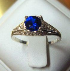 Ring Blue Sapphire filigree Ring eco-friendly by ApacheMoon