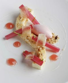 Rhubarb And Ginger Vanilla Cheesecake Rhubarb Sorbet Nut Crumble | Jason Atherton