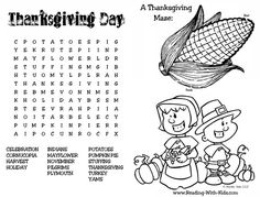 Thanksgiving Word Search Placemat