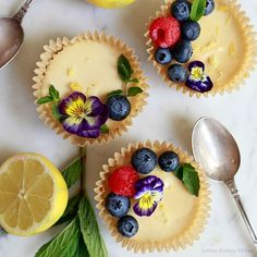 These vegan and paleo lemon tarts are like a cross between vegan lemon bars and cheesecake. Top with fresh fruit for a beautiful vegan dessert.