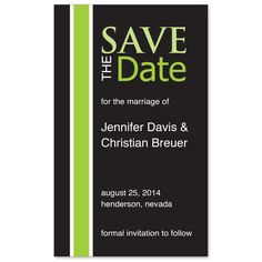 Modern Charm Save the Date Magnet is a bold design with green and white stripes on a solid black background.