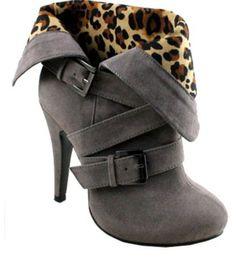 Gray cheetah print booties.