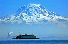 Mt Rainier and Vashon Ferry (Seattle, WA)  Photo credit - John Pleau