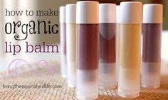 Pretty tubes of DIY chapstick in different natural colors on burlap