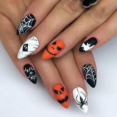 halloween nails - 45 Spooky Nail Art Designs for the Halloween Event - Holloween Nails, Cute Halloween Nails, Halloween Acrylic Nails, Halloween Nail Designs, Halloween Halloween, Women Halloween, Halloween Recipe, Halloween Projects, Halloween Decorations
