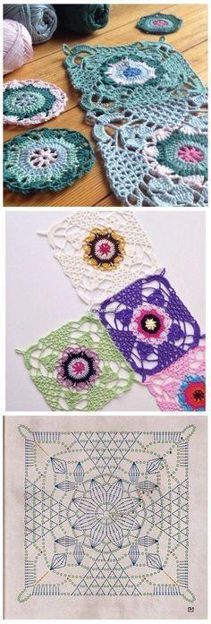 Transcendent Crochet a Solid Granny Square Ideas. Inconceivable Crochet a Solid Granny Square Ideas. Crochet Motifs, Crochet Blocks, Granny Square Crochet Pattern, Crochet Diagram, Crochet Chart, Crochet Squares, Love Crochet, Crochet Flowers, Crochet Stitches