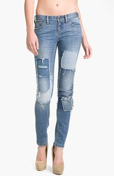 So Euro... Free People Patched Skinny Jeans (Hillside)   Nordstrom
