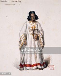 Stock Illustration : Costume sketch for Ethiopian prisoner by Auguste Mariette (1821-1881) for premiere of opera Aida, by Giuseppe Verdi (1813-1901), at Khedival Theatre, Cairo, December 24, 1871
