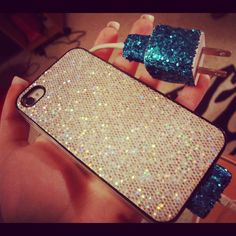 My iPhone & charger. Glitter glitter everything <3