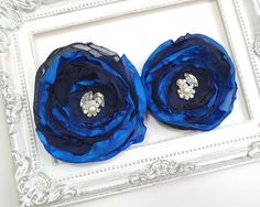 Fantasy Royal Blue Navy Peonies Bridal Wedding Hair Accessories Flower Clip Rhinestone Headpiece Great Gatsby Accessories Goth Millinery