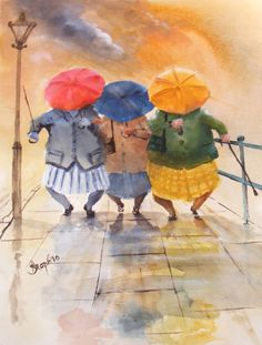 Des Brophy – dancing in the rain Art And Illustration, Illustrations, Umbrella Art, Under My Umbrella, Rain Pictures, Funny Paintings, Fat Art, Painting People, In Vino Veritas