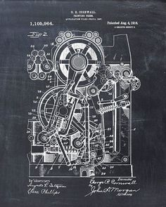 This is a print of the patent drawing for a printing press in 1914. The original patent has been cleaned up and enhanced to create an attractive