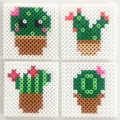 Cactus coasters made of Hama beads - one with a small kawaii face. Made by Susanne Randers Hama Beads Kawaii, Mini Hama Beads, Diy Perler Beads, Perler Bead Art, Fuse Beads, Perler Bead Designs, Perler Bead Templates, Hama Beads Design, Melty Bead Patterns