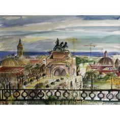 "Barcelona Art Market ""Ciutadella Park in Barcelona"". Technique: WATERCOLOR on paper. Artist: BENJAMÍ TOUS.  Size of set: 46 x 61 cm / 18.1 x 24 inches #painting"