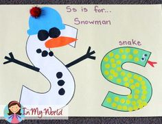 Preschool Letter S Craft - snowman / snake