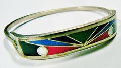 Alpaca Mexico Silver Tone Multi Color Enamel Colorful Inlay Bangle Bracelet…