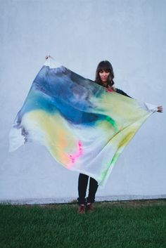"""Scarfshop Aqueus Collection teal/ochre/grey/hot pink/neon green scarf, 70% cotton, 30% silk, 54"""" square with raw edges"""