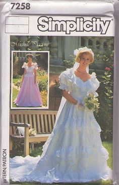 MOMSPatterns Vintage Sewing Patterns - Simplicity 7258 Vintage 80's Sewing Pattern BOUFFANT Designer Michelle Piccione Royal Southern Belle Tiered Ruffle Skirt Wedding Gown, Formal Dress Size 8