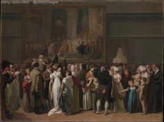 Le public admirant Le sacre de Napoléon de Jacques-Louis David au Louvre, 1810.