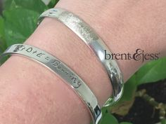 From www.brentjess.com - Round Low Dome Bangle Bracelet in Solid Sterling Silver with Your Unique Fingerprint - Custom handmade fingerprint jewelry by Brent&Jess