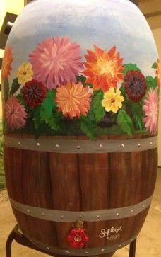 Painted Rain barrels.   A really great idea!