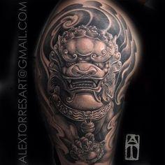 Foo-Dog-black-n-gray-12sleeve-done-@tattooandcomiami-wynwood-WynwoodTattoo-tattoo-miami-sobe-PuertoR.jpg (640×640)