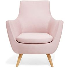 Pittsburgh Pink Armchair (355 JOD) ❤ liked on Polyvore featuring home, furniture, chairs, accent chairs, upholstered chair, mid century armchair, fabric chairs, mid century arm chair and fabric armchair