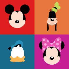 Mickey and the Gang minimalist print Cute Canvas Paintings, Mini Paintings, Animal Paintings, Disney Minimalist, Disney Canvas Art, Disney Doodles, Cuadros Star Wars, Easy Doodles Drawings, Disney Paintings