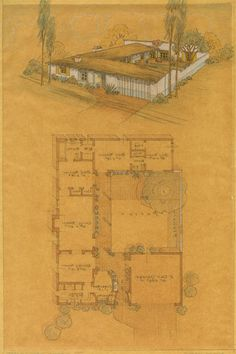 A collection of images & info documenting our early California hacienda-style home, possibly an early Cliff May design. Hacienda Style Homes, Spanish Style Homes, Spanish House, Spanish Revival, Ranch House Plans, House Floor Plans, Mountain House Plans, May House, Courtyard House Plans