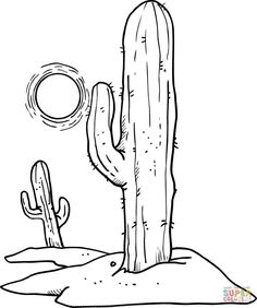 Sun over Desert Cactuses Coloring page - Scary coloring pages - Cactus Drawing, Cactus Painting, Cactus Art, Cactus Flower, Painting Art, Cactus Plants, Doodle Drawing, Pencil Sketch Drawing, Doodle Art