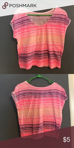 Medium top by Arizona Medium pink orange and purple striped top, not a crop top but comes down slightly below belly button Arizona Jean Company Tops Tees - Short Sleeve