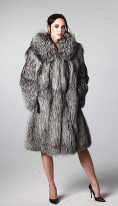 GENUINE SILVER FOX FUR COAT with HOOD jacket size L / XL 100% REAL NATURAL NEW #JANzphu #BasicCoat