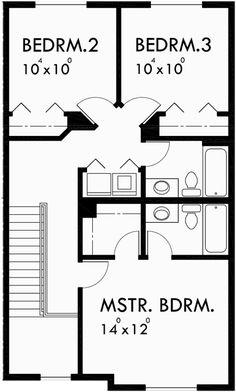 Upper floor plan 2 for fourplex house plans 3 bedroom for 4 plex plans narrow lot