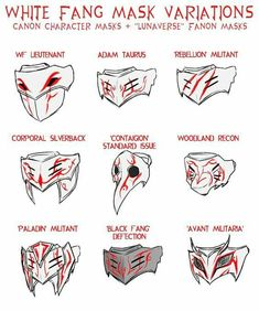 White Fang Masks Variations by Lightning-in-my-Hand Drawing Reference Poses, Design Reference, Drawing Tips, Fantasy Character Design, Character Design Inspiration, Character Art, Armor Concept, Weapon Concept Art, Kitsune Maske