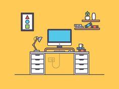 Workspace by Tamzid Hasan 🚀 Flat Design Illustration, Simple Illustration, Digital Illustration, Design Ios, Travel Design, Icon Design, Design Thinking, Office Cartoon, Flash Design