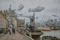 """""""Dans la poursuite du temps"""" - peinture rétro-futuriste, autrement dit """"steampunk"""""""