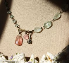 Queen of March Necklace - so pretty Aquam and rose quartz handwired w vintage sterling crown