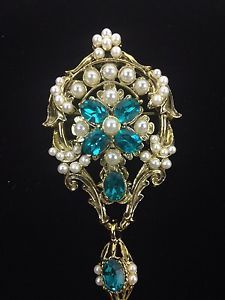 DODDS Costume Brooch Gold tone Marine Blue Faux Pearl STUNNING