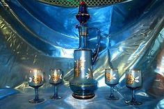 Vintage Turquoise Blue hand blown glass Wine Decanter Set cordial glasses frost