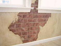 "if you haven't seen Debra's video on how to paint faux brick with faux plaster ""breakouts"" these pictures ought to inspire you. We got some photos of some perfect examples of plaster breakouts and exposed old red faux bricks. Faux Brick Walls, Stucco Walls, Plaster Walls, Mural Art, Murals, Faux Painting, Wall Finishes, Exposed Brick, Tile Art"