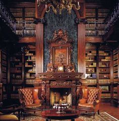 In home library is a must for me. This is a two-story library, with marble above the fireplace. Leather wing back chairs. Library Room, Dream Library, Grand Library, Library Ideas, Library Pictures, Future Library, Fireplace Surrounds, Fireplace Design, Library Fireplace