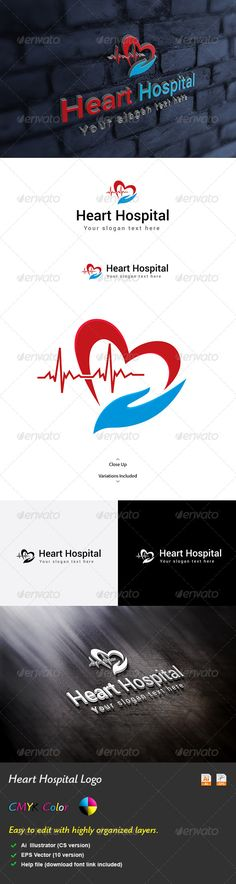 Heart Hospital Logo #GraphicRiver Heart HospitalLogo is a logo design that can easily fit to any medical services, hospitals, clinics, medical emergencies. It is made by simple shapes although looks very professional. The file includes Multi variations of the Logo. Featured: •