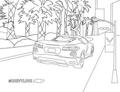 Create your own palm tree paradise. Free Stuff, Kid Stuff, Stuff To Do, Chevrolet Corvette, Chevy, Coloring Pages For Kids, Coloring Books, Superhero Mask Template, Car Activities