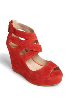 :: red suede sandal