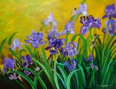 Purple Southwestern Irises by brushnpalette on Etsy, $398.00