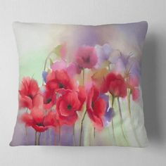 Floral Throws, Floral Throw Pillows, Decorative Throw Pillows, Watercolor Poppies, Red Poppies, Poppy Flowers, Living Room Decor Traditional, Machine Wash Pillows, Printing On Fabric