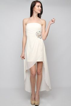 TUBE DRESS WITH RHINESTONES AND ASYMMETRICAL HEM For only $59-Join today for FREE