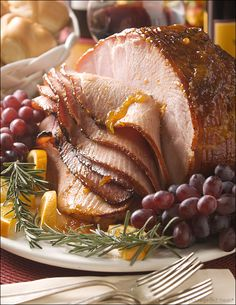 Apricot-Glazed Ham with Garlic, Mustard and Rosemary: Apricot and brown sugar glaze echo the sweet hints from the ham's cure, setting off the salt and smoke of the meat with a savory note.