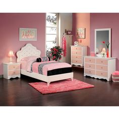 This traditional Bedroom Set has case pieces with a white and pink finish complimented with a vine motif. The Upholstered Princess Bed features diamond tufted tiara shaped headboard with polished silver nail heads. Fully upholstered footboard and rails.